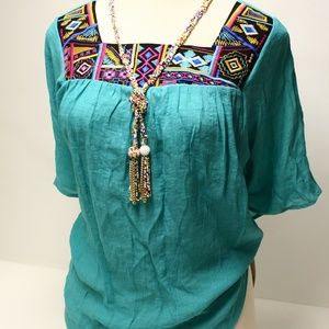 Tunic 1X Turquoise Rayon NWT Embroidered Southwest